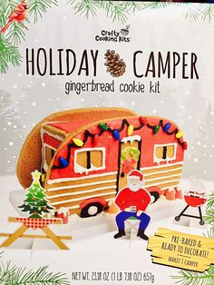 Holiday Gingerbread Holiday Camper Kit. Includes pre-baked gingerbread cookies, icing, gumdrops, candy lights, piping bag, paper pieces, red and brown icing pens and Perfect Build clips for easy set up. #camper #gingerbreadhousekit #gingerbreadhouse #christmas Best Gingerbread House Kit, Gingerbread Cookie Mix, Cardboard Gingerbread House, Cool Gingerbread Houses, Classic Holiday Movies, Pop Up Play, Types Of Candy, Cookie House, Rudolph The Red