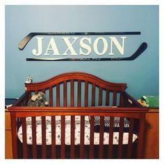 Hockey Stick Art - Little Boy Names - Ideas of Little Boy Names - Hockey Stick Art Boys Hockey Room, Baby Boy Hockey, Hockey Nursery, Hockey Bedroom, Hockey Mom, Field Hockey, Baby Boy Rooms, Baby Boy Nurseries, Baby Room