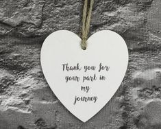 Wooden Hanging Heart, Thank You gift, wedding favour, Your part in my journey #affiliate #gift #heart #wedding #birthday #thankyou #present