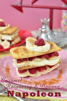 Caramel Raspberry & Banana Napoleon | This dessert may look fancy enough for #ValentinesDay but is SO easy to make.  recipe at TidyMom.net