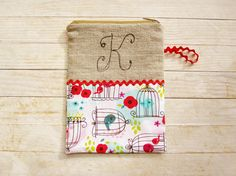 Cosmetic bag pencils case carry-all zipper pouch monogram K initial wallet bird aviary flower red blue pink cotton natural linen black gift by poppyshome on Etsy