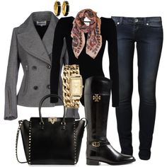 Casual Fall Outfit with Tory Burch Boots created by tsteele
