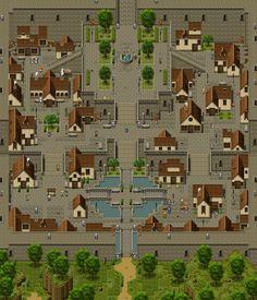 Game Character Design, Fantasy Character Design, Game Design, Sprites, Fantasy Map, Fantasy City, Pixel Rpg Games, Pixel Art, Pokemon Regions