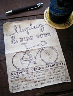 Unplug and ride your bike! A #bikemonth napkin sketch challenge by me (James Thomas) for #BeerandNapkins