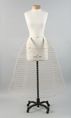 Crinoline Date: ca. 1860 Culture: American Medium: metal, cotton Dimensions: Length at CB: 32 in. cm) Credit Line: Purchase, Irene Lewisohn Bequest, 1986 Accession Number: This artwork is not on display Victorian Women, Victorian Fashion, Vintage Fashion, Historical Costume, Historical Clothing, Bustiers, Lingerie, Belle Epoque, Civil War Fashion