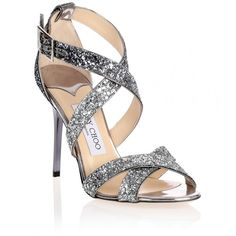 Jimmy Choo Lottie navy glitter sandal ($795) ❤ liked on Polyvore featuring shoes, sandals, glitter, silver glitter shoes, buckle sandals, silver glitter sandals, metallic sandals and silver shoes