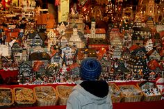 Nuremberg Christmas Market, Germany. Christmas village houses.