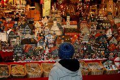 Nuremberg Christmas Market, Germany. Christmas village houses.