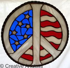 Stained Glass Peace Sign with USA Flag ~ Patriotic Window Hanging