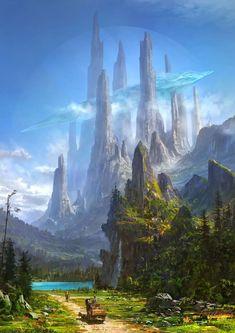 fantasy landscape Arte e Fantasia Fantasy Magic, Fantasy City, Fantasy Castle, Fantasy Places, High Fantasy, Medieval Fantasy, Fantasy World, Final Fantasy, Daily Fantasy