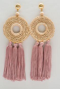 Tassel Earing, Tassel Jewelry, Textile Jewelry, Fabric Jewelry, Jewellery, Crochet Earrings Pattern, Crochet Necklace, Crochet Patterns, Fabric Earrings