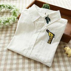 Women fashion elegant white Giraffe leaves Embroidery pocket blouse turn down collar button shirt casual brand female from Reliable button bulk suppliers on IDOL Fashion (offer Drop shipping)Really cute embroidered giraffe and tree branch shirtDiy gi Shirt Embroidery, Embroidery Fashion, Embroidery Designs, Diy Fashion, Ideias Fashion, Womens Fashion, Fashion Design, Fashion Shirts, Fashion Clothes