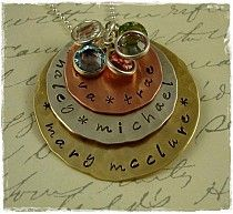 Hand Stamped Three Disc Mixed Metal Stacker Necklace