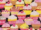 Fancy Cupcake Party Cotton Fabric Black