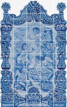 blue and white tile mural