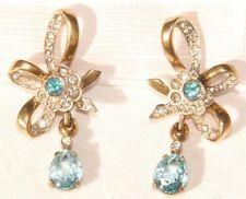 Vintage Signed JOMAZ / JOSEPH MAZER Gold Plated Sterling Aquamarine Earrings