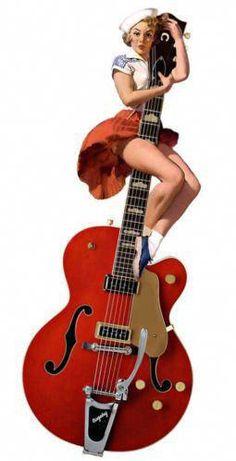 Gretsch Guitar Bigsby Gretsch Guitar Stool – tipos de guitarra y tocar guitarra Guitar Diy, Music Guitar, Cool Guitar, Acoustic Guitar, Mode Vintage, Vintage Pins, Vintage Music, Samba, Guitar Posters