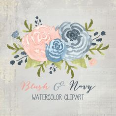 Blush and Navy Watercolor Flower Clipart // by graphicgoddesses