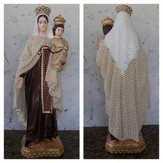 Nossa Senhora do Carmo, 60 cm, gesso  Customizada com perolas e cristais.