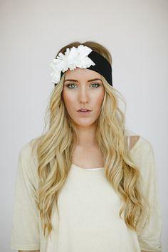 70302d4de17 Jersey Flower Headband Women s Bohemian Hair Bands Boho Chic Black jersey  Turban with Ivory Flower Cluster