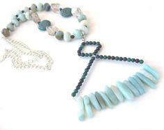 Amazonite Gemstone Long Necklace Smokey by MissBusyBeeJewelry, $62.00