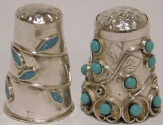 2 Vintage MEXICO~MEXICAN STERLING SILVER Sewing Thimbles w/TURQUOISE STONE~BEADS #MEXICOSTERLINGSILVER