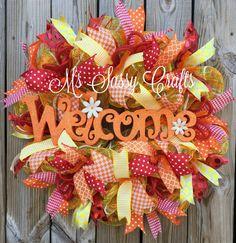 Welcome Wreath  Everyday Wreath  Orange Welcome by MsSassyCrafts