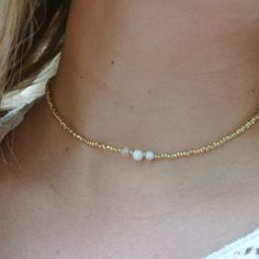 simple pearl gold beaded choker necklace
