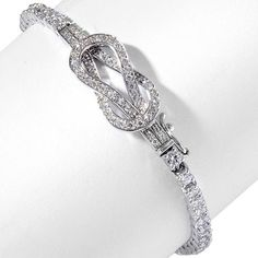 "Man Made Diamond Sterling Silver Interlocking Knot 3mm Round Line 8"" Bracelet #Affinityfashionjewelry #Line"