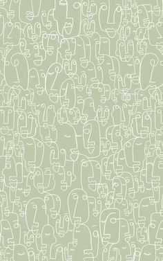 Our Scribble Faces wallpaper collection is the perfect way to feature the minimalist line drawing trend in the home in a Aesthetic Backgrounds, Aesthetic Iphone Wallpaper, Aesthetic Wallpapers, Green Backgrounds, Aesthetic Stickers, Photo Wall Collage, Picture Wall, Sage Green Wallpaper, Mint Green Aesthetic