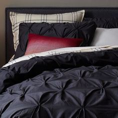 Just ordered our new bedding:) Loved the pintuck!   Organic Cotton Pintuck Duvet Cover + Shams - Slate #WestElm