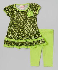 Lime Flower Ruffle Tunic & Leggings - Toddler & Girls by Teddy Boom #zulily #zulilyfinds