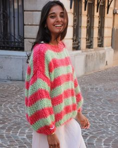 Discover recipes, home ideas, style inspiration and other ideas to try. Black And White Outfit, Multi Way Dress, Relaxed Outfit, Rainbow Sweater, Winter Mode, Cool Sweaters, Hand Knitted Sweaters, Mode Inspiration, Colorful Fashion