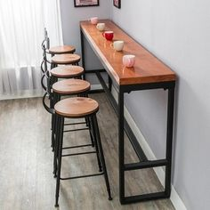 Cheap high bar table, Buy Quality bar table directly from China bar high tables Suppliers: Retro leisure cafes against the wall bar table Home high bar table long solid wood metal bar table High Bar Table, High Top Tables, Bar Tables, Wood Bar Table, High Table And Chairs, Bar Height Table, Bar Table Design, High Top Table Kitchen, Kitchen Bar Counter
