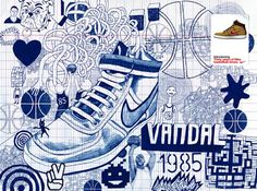 30 years of Nike, Billie Jean. He has drawn the illustration using blue biro pen. The image is creative,vibrant and is visually very detailed. I have selected this image because we were researching Billie Jean in class