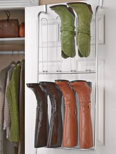 Over the Door Boot Organizer - Boot hanger - Shoe Holder Boot Storage, Closet Storage, Storage Shelves, Storage Spaces, Storage Ideas, Shoe Holder For Closet, Shoe Closet, Attic Closet, Boot Organization