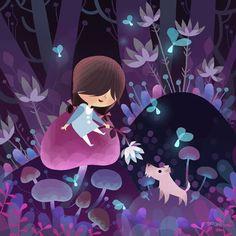 Joey Chou print Image of Girl Adventure-Glowing woods Illustration Mignonne, Children's Book Illustration, Digital Illustration, Joey Chou, Art Mignon, Disney Artists, Inspiration Art, Art Design, Oeuvre D'art