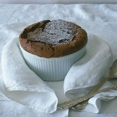 Chocolate Soufflé ~ Light, fluffy, and decadently chocolaty, this dessert is a little taste of heaven.