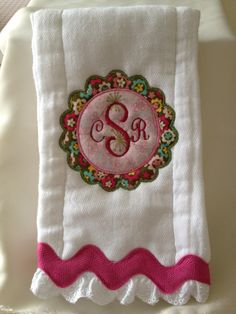 Monogrammed and appliqued burp cloth for Infant Girls and Boys