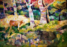 "Yury Ermolenko, ""Landscape with black cow"", 1996, oil on canvas, 105x140 cm. #YuryErmolenko #еrmolenko #ЮрийЕрмоленко #ермоленко #yuryermolenko #юрийермоленко #юрийермоленкохудожник #юрiйєрмоленко #ЮрiйЄрмоленко #єрмоленко #rapanstudio #modernart #fineart #contemporaryart #painting #impressive #colorful #art #picture #живопись #artwork #PleinAir #пленэр #texture #фактура #landscape #black #cow #forest #wood"