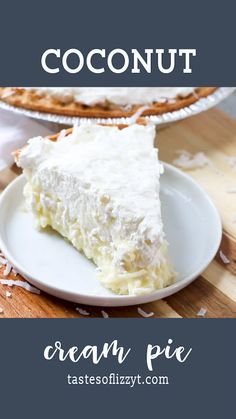 Old fashioned coconut cream pie has a creamy, homemade custard base and is topped with easy sweetened whipped cream. Use your favorite baked crust or a graham cracker crust. Easy Pie Recipes, Cream Pie Recipes, Coconut Recipes, Coconut Cakes, Homemade Desserts, Köstliche Desserts, Delicious Desserts, Dessert Recipes, Easter Recipes