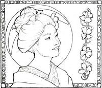 Adult coloring page Japan: geisha girl in the moonlight