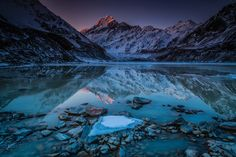 Hooker Glacier Lake ~ Hooker glacier lake and Mount Cook, New Zealand The glacial lake at the foot of Mount Cook is stunning at all times of the year, but winter is my favourite for taking photos.