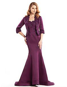 Trumpet/Mermaid+Mother+of+the+Bride+Dress+-+Grape+Sweep/Brus...+–+USD+$+129.99