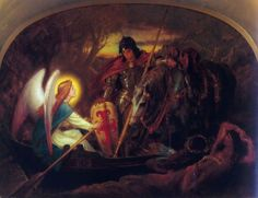 How an Angel rowed Sir Galahad across the Dern Mere  by Joseph Noel Paton (ARC)