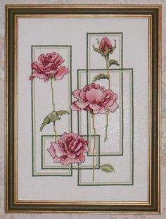 Framed Roses (Pg 1 of Cross Stitch Tree, Cross Stitch Boards, Mini Cross Stitch, Cross Stitch Flowers, Cross Pictures, Cross Stitch Pictures, Cross Stitching, Cross Stitch Embroidery, Hand Embroidery