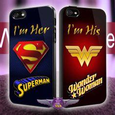 Wonderwoman & Superman Couple MJ7 design for iPhone 4/4s, iPhone 5/5s/5c, Samsung Galaxy S3/S4 Case on Etsy, $29.90