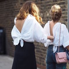 """""""TWINS / I BUMPED INTO THE LOVELY ATOSA NIKKHAH FROM @mybubbaandme AT LFW. TURNS OUT WE WERE LONG LOST TWINS WITH OUR MATCHING BACKWARDS SHIRTS!  ANYONE REMEMBER KRISS KROSS?"""" Photo taken by @kellouhar on Instagram, pinned via the InstaPin iOS App! http://www.instapinapp.com (09/21/2015)"""