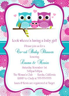 "Mixed Owls Baby Shower Invitation 5 ""x Digital Card - This listing is for a custom digital printable mixed owls baby shower invitation. The invitation si - Baby Shawer, Baby Owls, Baby Shower Themes, Baby Boy Shower, Owl Clip Art, Sunshine Birthday, Baby Shower Invitaciones, Party Invitations, Shower Invitation"