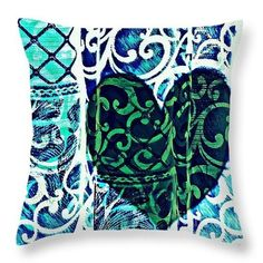 Old Love Stories Green Throw Pillow  http://pixels.com/products/old-love-stories-green-sarah-loft-throw-p..  #throwpillows #sarahloft #digitalart #digital #abstract #hearts